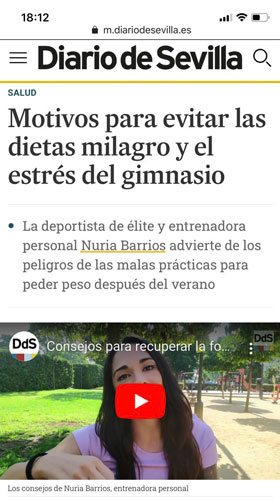 Entrevista del diario de sevilla a Nuria - sobre los consejos de un entrenador personal en sevilla