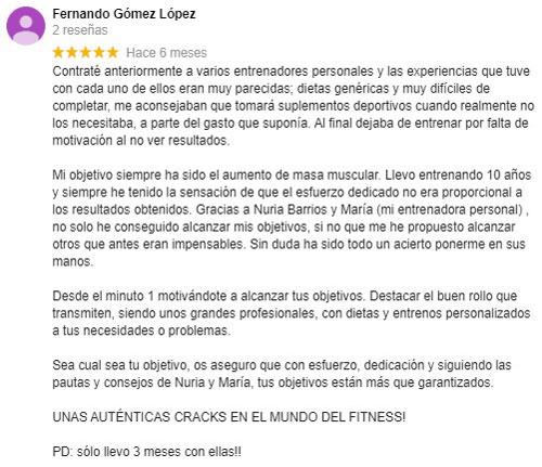 Testimonio de Fernando cliente de la calle San Vicente Sevilla sobre el entrenador personal sevilla